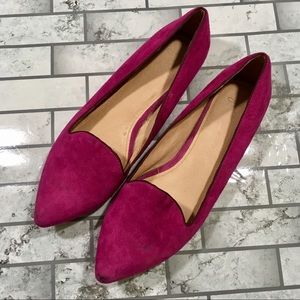 Joie pink suede pointy toe loafers flats size 41